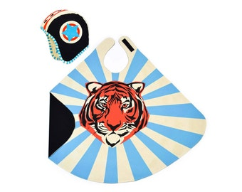 Blue Tiger Cape & Hat - Super Hero Costume - Super Tiger Dress Up - Gift for Kids Birthday, Tiger, Play, Kids Dress Up, Boys Costume Play