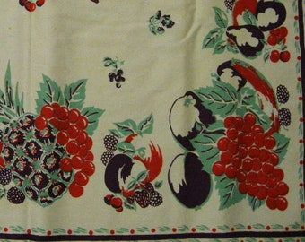 Vintage Retro Cotton Tablecloth - Fruit Design - Cherries, Grapes, Pineapple, Strawberries
