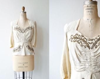 Saints-Pères blouse | vintage 1930s blouse | beaded 30s rayon blouse