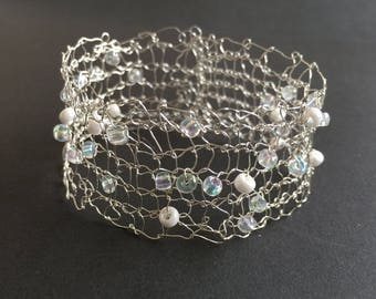 Beautiful, Delicate, Knitted Wire Bracelet.  Soft Silver Plated Wire with Seed Bead Decoration.