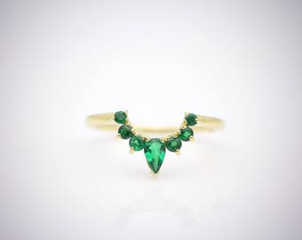 14K Solid Gold with Emeralds Curved Fitted Wedding Band