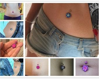 Periwinkle Purple Pink Blue Hawaiian Flower Belly Button Ring Jewellry