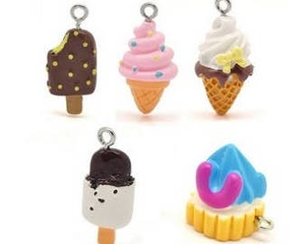 Lots of 10 charms in resin, greedy, ice, 17-28 mm