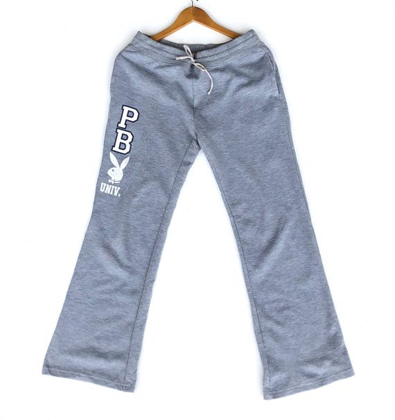 Playboy Sweatpants Big Logo Embroidery Pink Colour XL Size Jogger Pants Workout Pants Sweat Capris Vintage 90's Playboy TeXu5oV6Ph