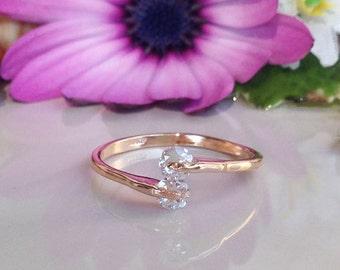 20% off- SALE!! Crystal Quartz Ring - Tiny Ring - Stacking Ring - Gold Ring - Gemstone Ring - April Birthstone - Simple Ring - Slim Ring