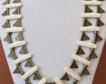 Brass tribal bib statement necklace