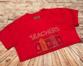 Teachers Rock!! Rhinestone Teacher Rock!  Crayon Shirt.