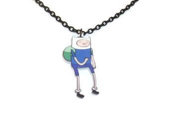 Finn The Human Necklace, Adventure Time With Finn and Jake Jewelry, Kawaii Cute Perspex Pendant, Laser Cut
