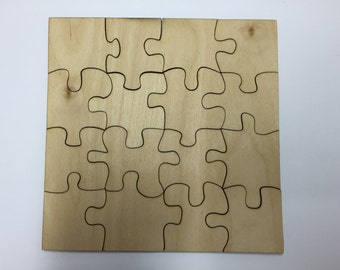 16 Piece Blank Wooden Jigsaw Puzzle Blank - Ready to Paint or for Sublimation - 3 sizes to choose from
