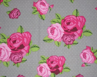 Pink Roses on Gray - Shabby Chic Fabric - 1/2 Yard - Ready to Ship