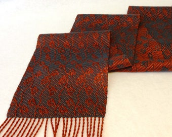 Handwoven Scarf, Tencel Scarf, Woven Scarf, Hand Woven Tencel Scarf, Leaf Scarf, Autumn Scarf,  Woven Tencel Scarf, #17-18 Vines & Leaves
