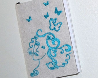 Notebook design embroidered-exclusive-it is easier to dream-TURQUOISE-10x15cm