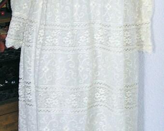 Vintage 60s, Emma Domb, cream, boho lace wedding dress gown, small to medium, MINT condition, boho, hippie, festival