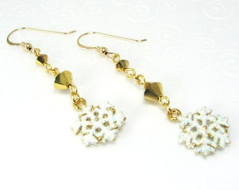 Dangling Snowflake Earrings, White Glitter Snowflake Earrings, White and Gold Christmas Jewelry, Holiday Fashion, Gift for Her