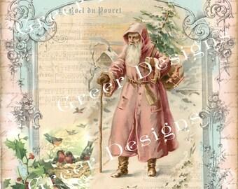Christmas Card Wishes Birds Noel Tree Victorian Pink Santa Claus Script Writing Digital download Printable