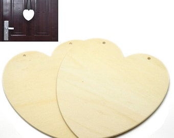 free uk postage 2 pcs Paint Your Own Hanging Heart Wooden Plaques