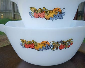 Fire King, Anchor Hocking Nature's Bounty Mixing Bowls, Set of 2