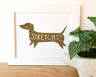 Stretch Yourself Print, Stretch Yourself Illustration, Quote Illustration, Saying Art