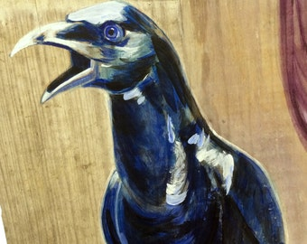 Raven (acrylic paint, reclaimed wood, edgar allan poe, nevermore, pallas athena, literature, poetry, poem, horror, mystery)