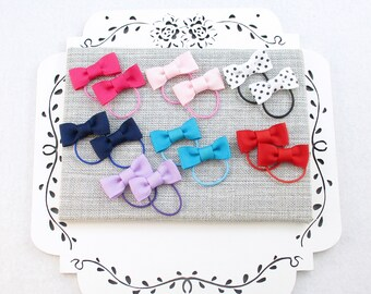 Toddler Hair Ties, 14 Small Bow Ties, Pigtail Hair Ties, Lavender Red Pink Navy Bows, Tiny Hair Bows, Small Bow Hair Tie, Toddler Gift