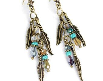 Feather Earrings, Charm Earrings, Festival Earrings, Gypsy Earrings, Music Festival, Feather, Boho, Cluster Earrings, Hippie Earrings E1350
