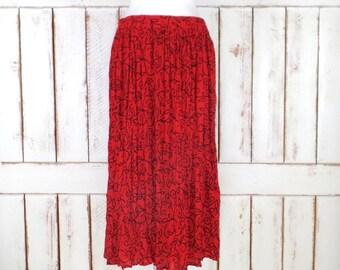 Vintage red/black floral boho gypsy maxi skirt/long gauzy crinkle festival Indian skirt