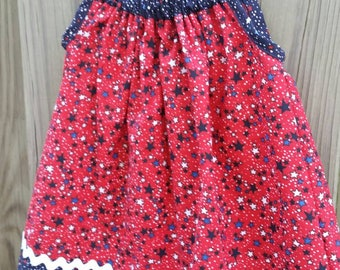 Red with blue and white stars sundress / 4th of July dress