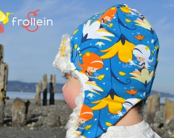 Aviator hat / Pilot hat Elf-sisters/ Euro knit fabric + ivory swirl fur/ warm winter hat/ Frollein S Size 12-18 Months
