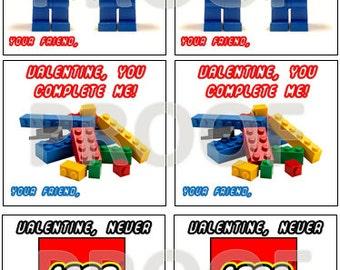 Valentines, building brick inspired (printable)