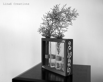 SALES, Black and white wooden bud vase with test tubes, spring home decor
