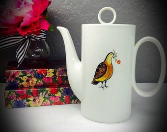 vintage Mancer porcelain teapot hand painted pigeon and flower design made exclusively for Domain by Mancer