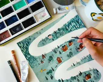 Mountains Road A4 Print Christmas Time!  Watercolors & Gouache