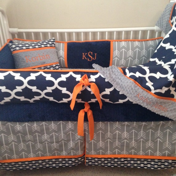 Baby Boy Bedding Crib Set Navy Blue Orange Grey Gray Arrow
