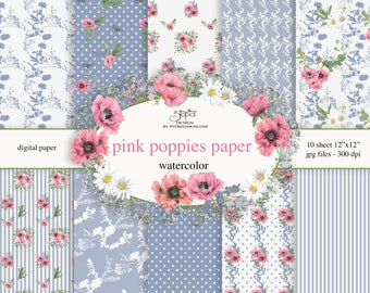 Pink poppies paper