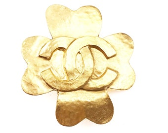 Chanel Vintage 24K Gold Plated CC Clover Brooch