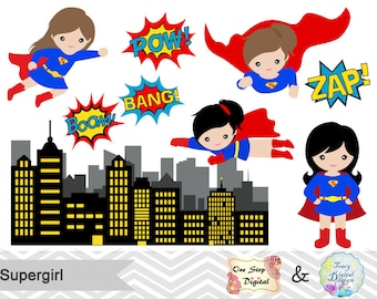Supergirl Little Girl Digital Clip Art, Digital Superhero Clipart, Cute Supergirl Clipart Superheroes Pop Art Text and Bubbles Clip Art 0187