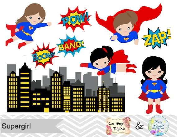 supergirl little girl digital clip art digital superhero clipart rh etsystudio com superhero clip art free download superhero clip art free download