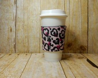 Fabric Coffee Cozy / Hearts Coffee Cozy / Valentine's Coffee Cozy / Love Coffee Cozy / Coffee Cozy / Tea Cozy