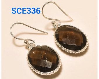 925 Sterling Silver Smoky Quartz Earrings Handmade Earrings Faceted Gemstone Earrings Quartz Jewelry Solid Silver Gemstone Jewellery Gift