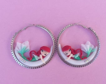 Little Mermaid earrings on the moon, fimo, polymer clay