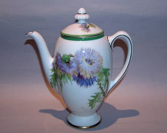 8459: Royal Doulton Glamis Thistle Coffee Pot Artist P Curnock Vintage Fine China at Vintageway Furniture