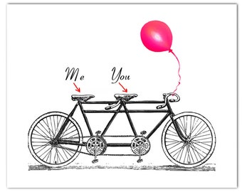 """You and Me on the vintage Tandem Bicycle - ORIGINAL personalized ARTWORK - 8 x 10"""""""
