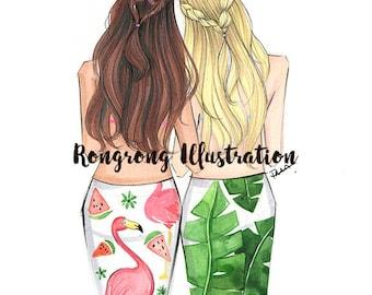 BFF Fashion illustration,Best friends art, Fashion illustration,Fashion print,fashion poster,Titled,Beach Besties