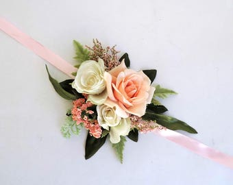Bridal Wrist Corsage, Wedding Wrist Corsage, Bridesmaid Corsage, Mother of the Bride Corsage, Peach and Cream Wrist Corsage, Floral Corsage