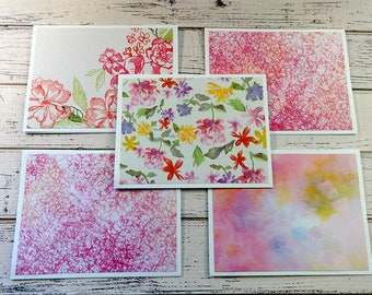 Note Card Set, Note Cards, Thank You Notes, Blank Cards, Set of 5 Note Cards with Matching Envelopes, Floral Note Cards, Brushstroke Floral