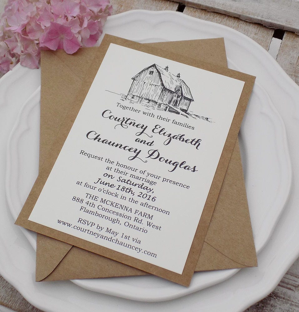 Barn Wedding Invitation Suite, Country Wedding Invitation, Lace ...