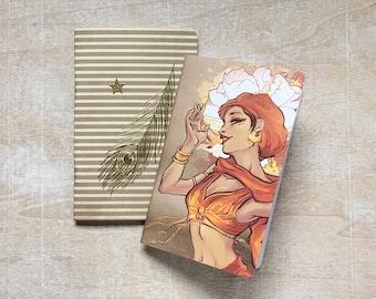 Set of 2 BELLYDANCE notebooks, handmade pocket original illustration notebook, metallic gold, journal, fauxdori refill, oriental dance