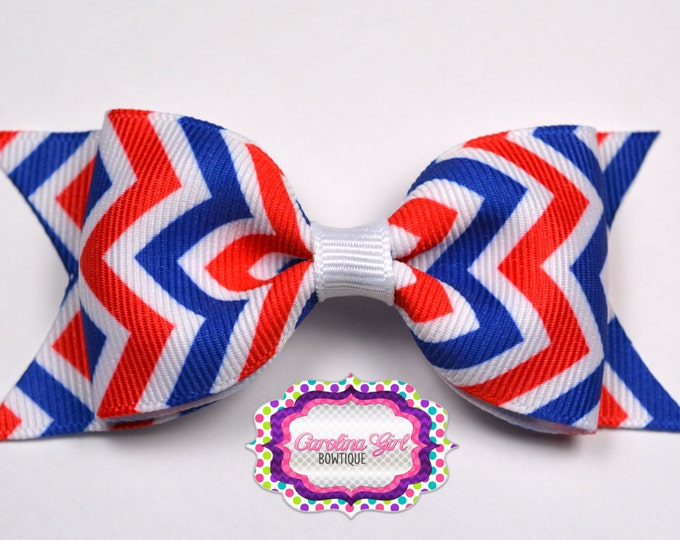 """4th of July ~ Red, White, & Blue ~ 3.5"""" Bow ~ No Slip ~ Girls Barrette ~ Toddler Bow ~ Baby Hair Bow ~ Hair Clip ~ Girls Hair Bow"""