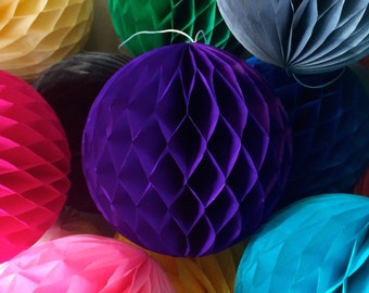 Purple 4 Inch Honeycomb Tissue Paper Balls - Paper Party Decor Decoration Supplies