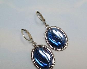 Sapphire Blue Earrings Blue Ear Dangles Art Deco Jewelry Gift